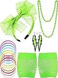 Blulu Diadema Pendinetes de Encaje de los Años 1980 Guantes de Red Collar Pulsera para Fiesta de 1980 (Verde Fluorescente Estilo A)