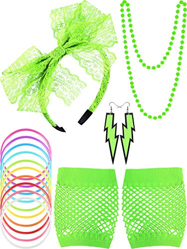80s Lace Headband Earrings Fishnet Gloves Necklace Bracelet for 80s Party (5 Pieces, Fluorescent Green Style A)