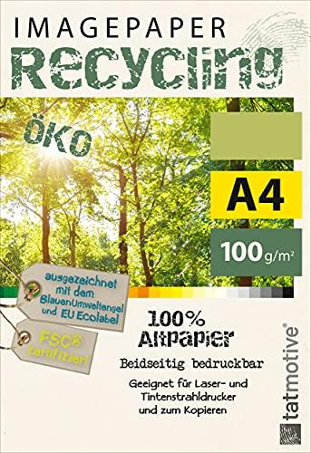 TATMOTIVE Imagepaper Öko-Recycling-Papier 100g/qm A4, FSC-zertifiziert, geeignet für alle Drucker, 500 Blatt Kopierpapier, Druckerpapier