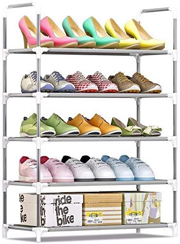 BRFDC Zapatero Zapatero de 5 gradas de Metal Tall for 6-15 PairsFree pie Zapatos Ajustables estantes de Almacenamiento Organizador de Puerta Espacio Saver60x30x90cm Ahorra Espacio fácil de Montar