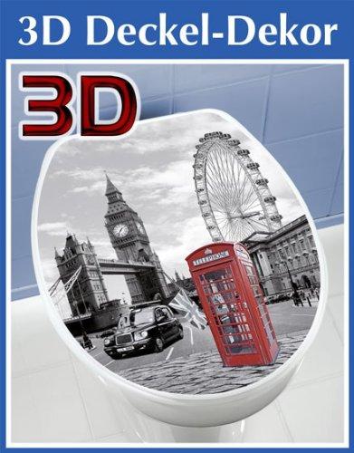 WENKO 3D-WC-Deckelaufkleber London - ca. 33,5 x 41 cm - WC Deckel Aufkleber - Toilette