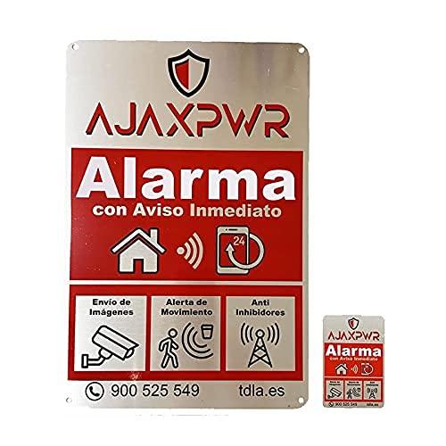 Pack Hogar Cartel Alarma Disuasorio en Placa de Aluminio de 20x30cm y 7,5x5 cm . Securitas: En la mitología romana, era la personificación de la seguridad