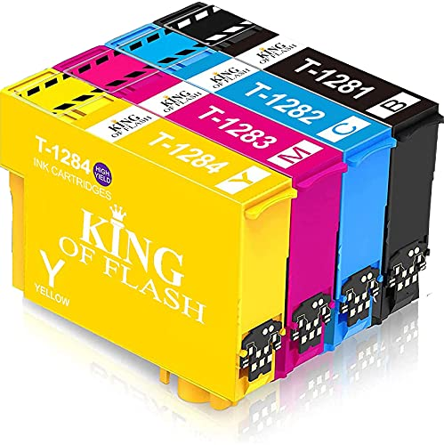KING OF FLASH Replacement for Epson T1281 T1282 T1283 T1284 T1285 Ink Cartridges Compatible for Epson Stylus SX125 SX235W SX130 S22 SX445W SX438W SX435W SX425W