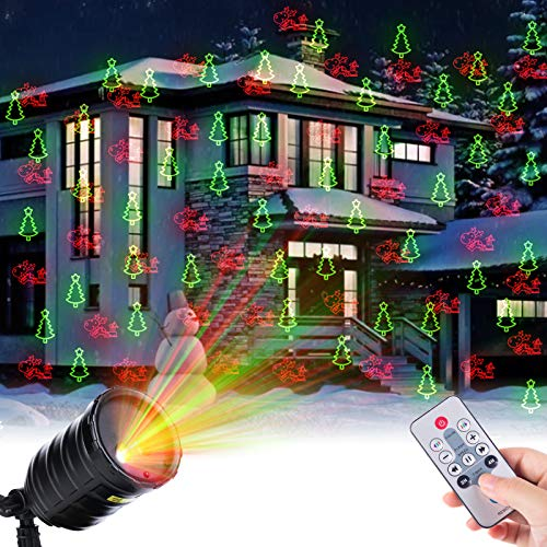 Christmas Projector Lights Outdoor Party Laser Light Projection 10 Patterns Waterproof with Timer Speed Flash Mode Setting for Indoor House Halloween Holiday New Year Decoration, Red+Green