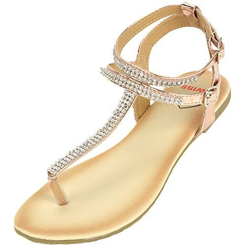 Alpine Swiss Womens Rose Gold Slingback T-Strap Rhinestone Thong Sandals 9 M US