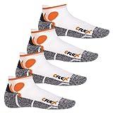 CFLEX - 4 pares de calcetines tobilleros para correr - Blanco/naranja - 43/46