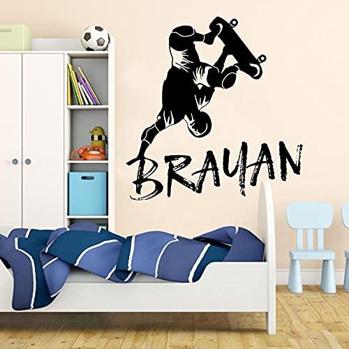 Personalidad simple monopatín arte vinilo pegatinas habitación de los niños decoración del hogar mural a prueba de agua pegatinas de pared A10 57x60cm
