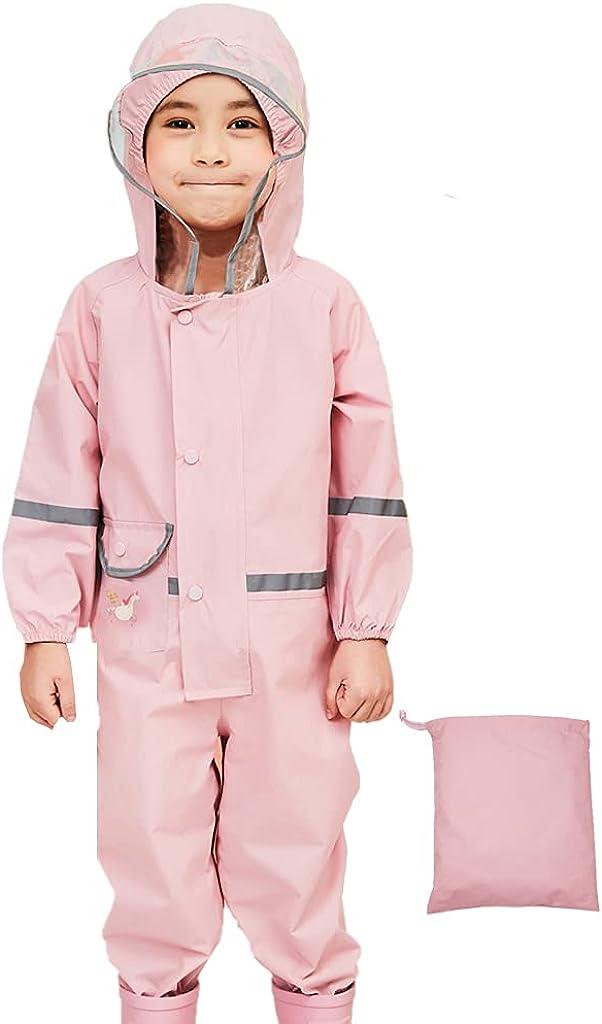 JiAmy Kids One Piece Rain Suit Boys Girls Waterproof Rainsuit Toddler Rain Coat Coverall for 2-8 Years