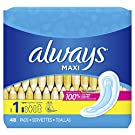 ALWAYS Maxi Size 1 Regular Pads Without Wings Unscented, 48 Count ,packaging may vary