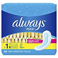 Always Maxi Unscented Pads without Wings, Regular, 48 Count