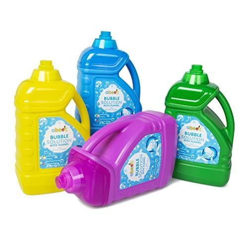 abeec 1,8 Liter Seifenblasenlösung - Riesenblasenmischung mit Trichter in verschiedenen Farben enthalten - 64 FL OZ Seifenblasenflüssigkeit für Seifenblasenmaschinen und Outdoor-Spielzeug