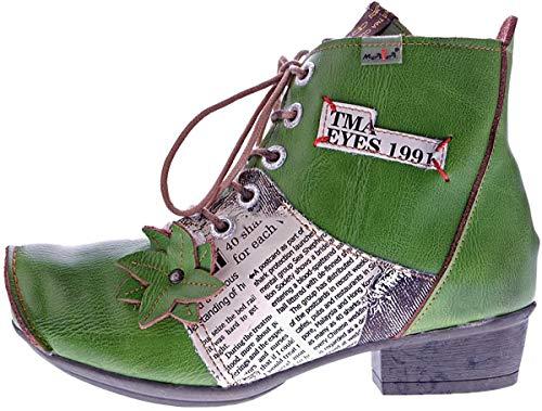TMA Leder Damen Stiefeletten Grün gefüttert Comfort Boots echt Leder Winter Schuhe 8077 Gr. 42