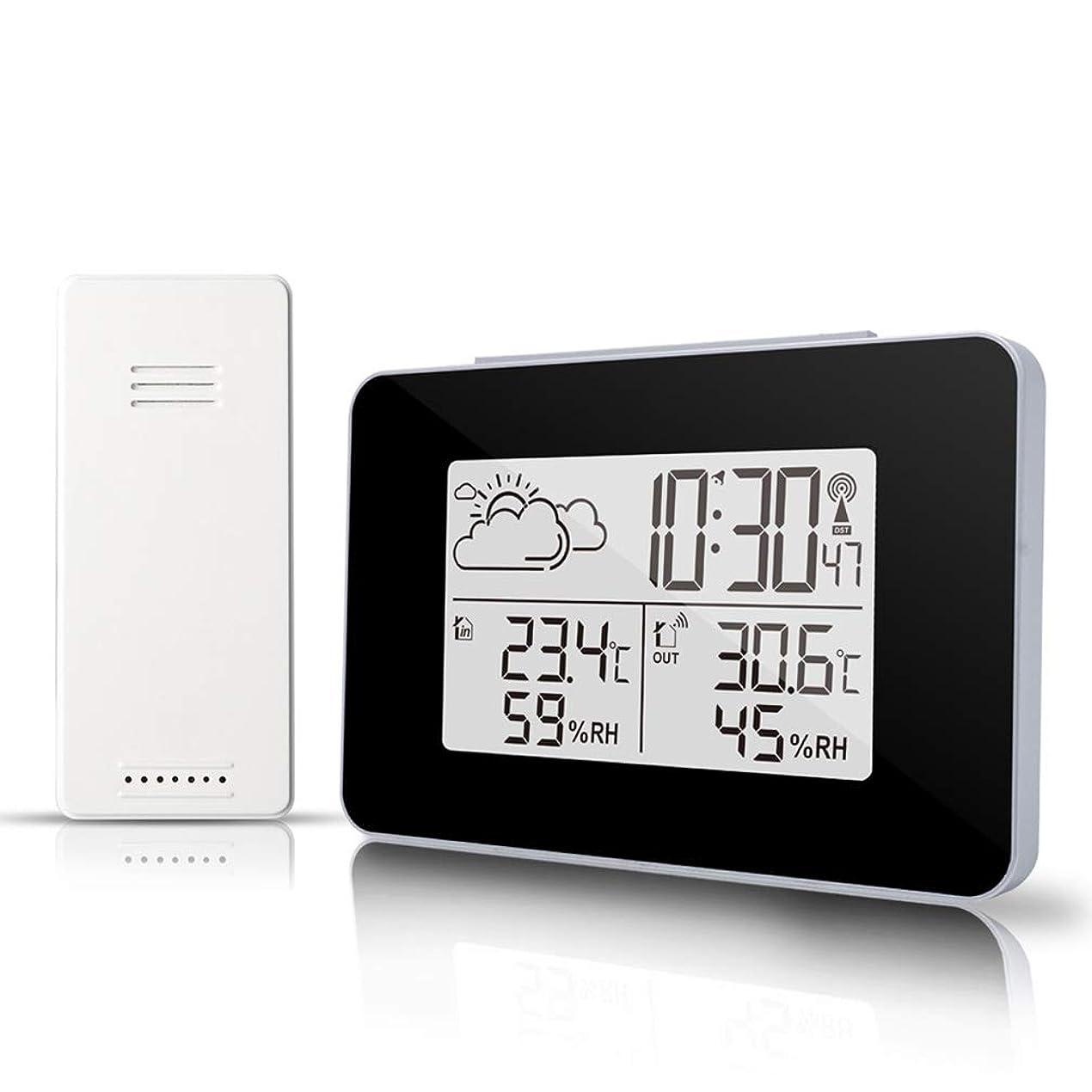 ホップ分析的な絶滅させる気象計,デジタル目覚まし時計ワイヤレスセンサー温湿度計湿度モニター、多機能LEDデスクトップ卓上時計