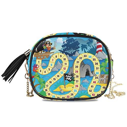 Brettspiel, Piraten-Leuchtturm, leicht, Mini-Umhängetasche, Handtasche für Damen, mit Quaste