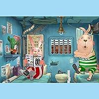 ゲームパズル1500ピース木製の大きなパズル*バニーリーディング*大人と子供向けのパズル-個人的な贈り物-創造的な装飾