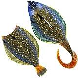 Westin Flat Matt Jig 28g 8,5cm - 1 Jighaken + 2 Gummifische, Farbe:Peacock Flounder