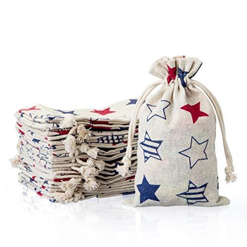 Naler 20 Stück Jutesäckchen Sterne Jute Beutel für Adventskalender Stoffbeutel Natur Säckchen Geschenksäckchen - 10 x 14 cm