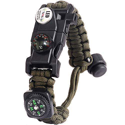 Paracord Survival Armband Kit für Herren Damen, Survival Armband mit Feuerstein + Kompass + Thermome (Armeegrün)