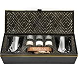 Whiskey Chilling Stones Gift Set - 6 Handcrafted Premium Granite Round Sipping Rocks - 2 Crystal Superior Glasses - Hardwood Presentation & Storage Tray - Elegant Gold Foil Gift Box by R.O.C.K.S.