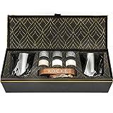Coffret Cadeau Pierres à Whisky - 6 Pierres Artisanales Rondes en Granit - 2 Verres de Dégustation en Cristal - Support de Présentation et Rangement en Bois - Magnifique Coffret Or à Chaud