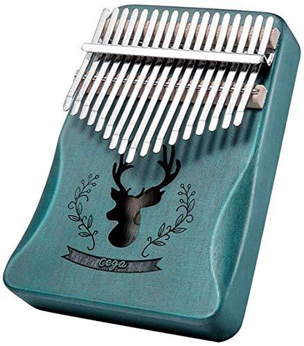 YUANSHENG高品質の17鍵カリンバ, 親指ピアノ Kalimba 17音の指ピアノ, ハンマー、スタディガイド。 (ブルー)