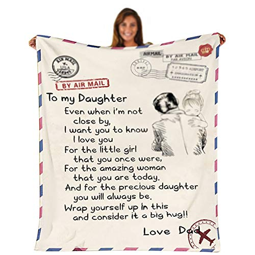 XXXZZL Ersonalized Message Letter Blanket Comfortable Fleece Throw Blanket Printing Flannel Blanket Quilts,for Son, Daughter, Wife, Mamá y papá,Style b,130 * 150