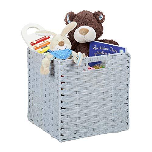 Relaxdays Aufbewahrungskorb, quadratischer PP-Korb für Bad u. Kinderzimmer, Regalkorb geflochten, 31x32x30 cm, grau, Kunststoff