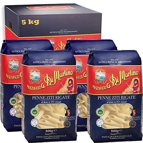 Penne Zite Rigate | 5kg Maxi Formato | Antica Pasta di Gragnano Igp | Pastificio Di Martino | Confezione 10 Pezzi da 500Gr | Eccellenza della Campania | 100% Grano Italiano | Idea Regalo