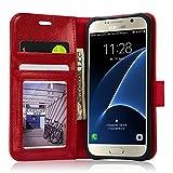 Labato Vintage Piel Funda libro funda tipo cartera para teléfono móvil de lujo para Samsung Galaxy S6 S6 Edge S7 S7 Edge con función de soporte, cierre magnético, ranuras para tarjeta y efectivo compartimiento, piel sintética plástico, Red - Check Size Before Ordering, Galaxy S7