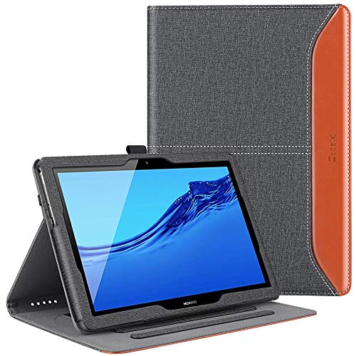 ZtotopCase Funda para Huawei MediaPad T5 10 10.1 Pulgadas, Estuche de Negocios de Cuero PU Premium, Ángulo múltiple para Huawei MediaPad T5 10 2018,Denim Negro