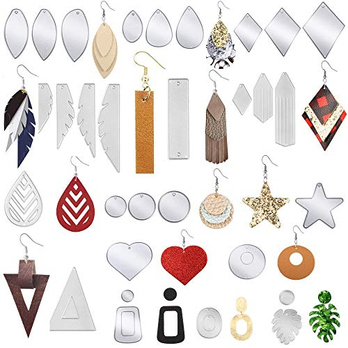30 Pcs Carbon Steel Earring Cutting Dies Earring Dies Cuts for DIY Leather Earrings, Crafts, Teardrop Round Rectangle Triangle Rhombus Star Heart Shape Stencils for Earring Making