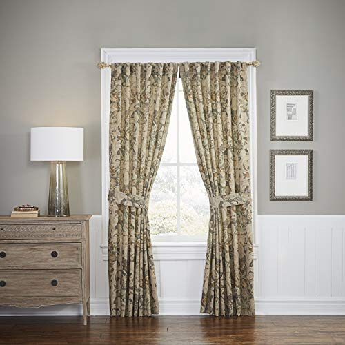 """Waverly Volterra Porcini Floral Design Darkening Window Curtains Drapes for Living Room, Double Panels, 100"""" x 84"""", Multi"""