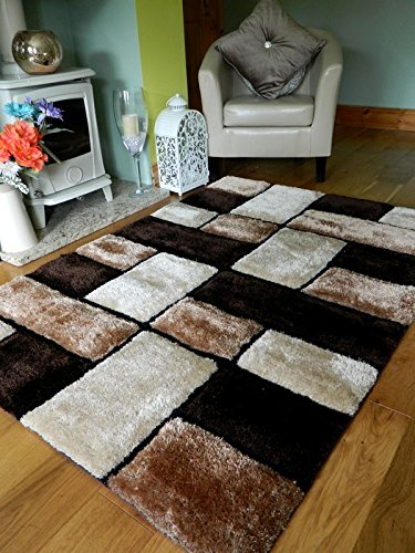 NEW MODERN MOCHA COFFEE CREAM BROWN BEIGE THICK HEAVY SILKY SOFT LUXURIOUS SHAGGY LIVING AREA BEDROOM RUG NON SHED SHAGGY PILE 90 x 150 cms