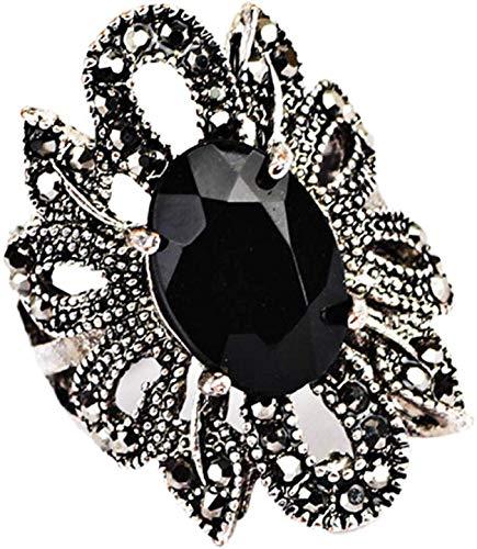 ZZbaixinglongan Bevorzugt Retro Schwarz Kristall Blume Markasit Ring Frau Dame Modeschmuck Größe 8 - Antike Silber