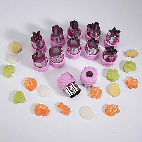Sconosciuto Set di 12 Mini taglierini per Frutta, per Bambini, Mini tagliaverdure e Piccoli Utensili da Cucina, in Acciaio Inox, Colore: Viola…