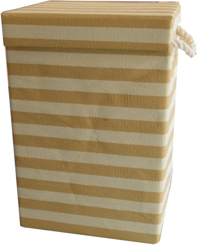 ZHANGQIANG Storage Basket Laundry Basket Waterproof Coating Ramie Cotton Fabric Folding Laundry Hamper, Storage Basket (color   orange-Lid, Size   34  28  50cm)