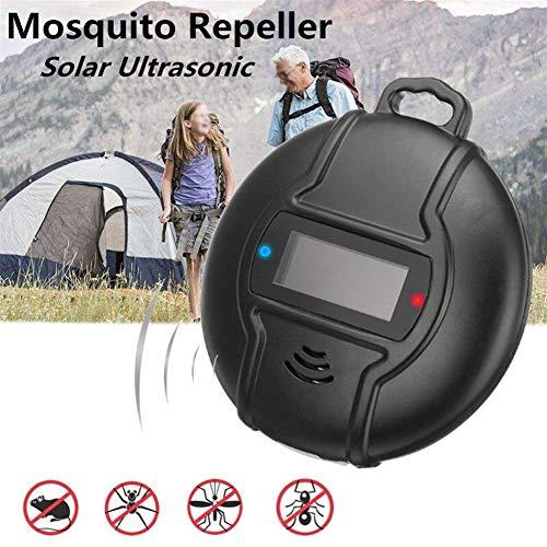 N / A Al Aire Libre ultrasónico Portable Solar Repelente Repelente de plagas con el Perro de Animal de ratón compases del Mosquito del Gato del jardín del pájaro Serpiente Fox (Color : Black)