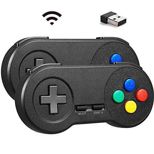 MODESLAB 2 Pack Wireless SNES Controller Classic USB Controller, 2.4GHz Rechargeable Wireless Retropie Controller Gamepad Joystick for Windows PC MAC Linux Raspberry Pi Emulator (Black(#1))