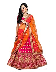 Fast Fashions Womens Pink Heavy Embroidered Taffeta Silk Lehenga Choli (Pink_Free Size)