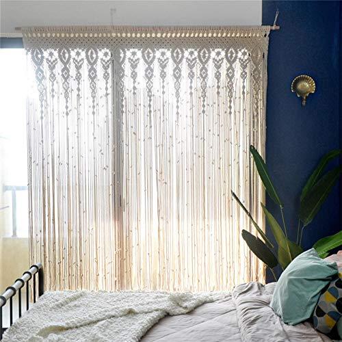 Macrame Tapiz de pared tejido macramé para puerta, separador de espacios, cortinas de macramé, cortinas de ventana, cortinas de puerta, fondo de boda, decoración de pared para casa, dormitorio o salón