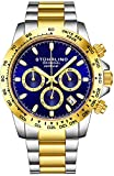 Stuhrling Original Mens Sport Chronograph Watch - Stainless Steel Brushed Matte Bracelet, 891 Formula'i' Watches Collection (Gold Two Tone)