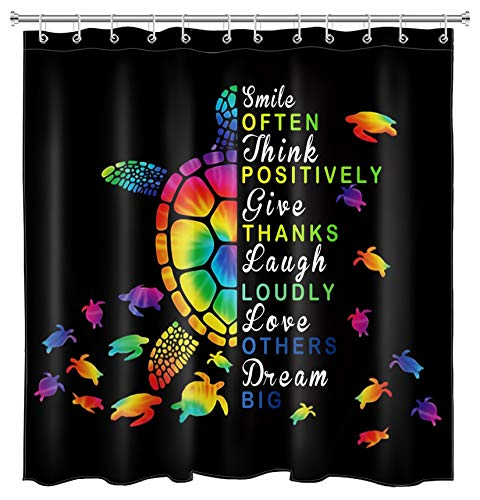 HVEST Sea Turtle Shower Curtain for Kids Bathroom Decor,72x72 Inchs Colorful Abstract Turtles and Inspirational Quotes on Black Shower Curtains with 12 Hooks Waterproof Fabric Bath Accessories