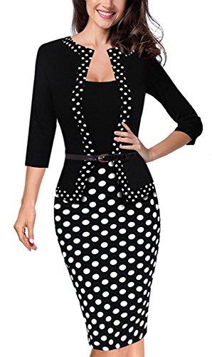 HOMEYEE Damen Vintage Retro 3/4 Hülsen Bleistift Kleid tragen to Arbeit B407(EU 40 = Size L,Punkt)
