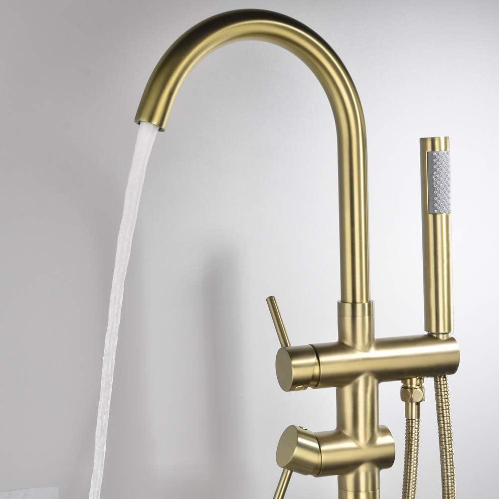 Floor Mount SHAMANDA Freestanding Bathtub Faucet Bath Tub Filler Faucet with Hand Shower Brushed Gold FL901-3
