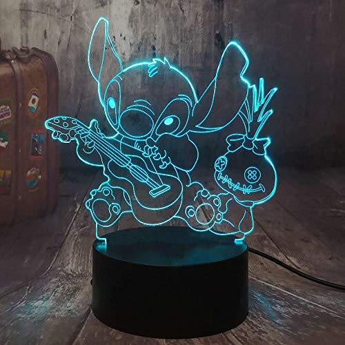 Cartoon Figur Stich 3D LED Nachtlicht Happy Stitch Spielen der Gitarre mit Freunden Scrump Sleep Desk Lampe Home Decor Kid Spielzeug