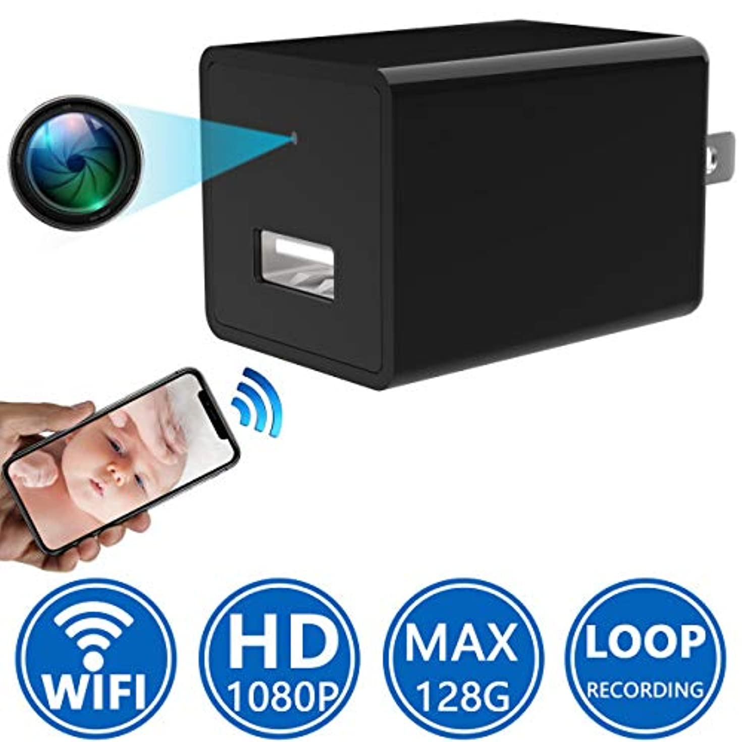 Sunggo Spy Camera Wireless Hidden Wi-Fi Camera,1080P HD Nanny Cameras and Hidden Cameras, USB Spy Camera, Best Hidden Cameras for Home Motion Activated/Night Vision, Support iOS/Android/PC