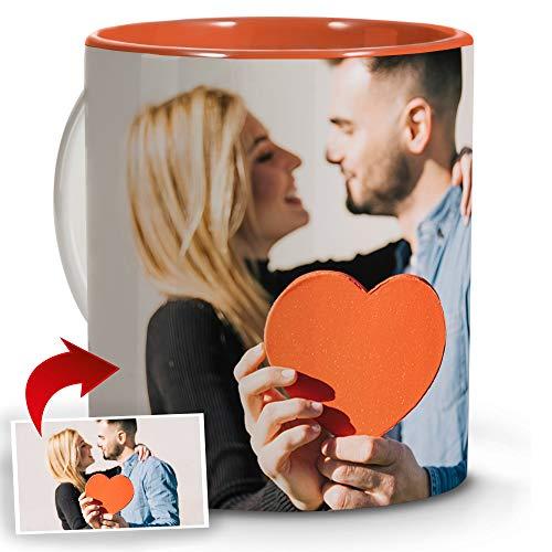 LolaPix Tazas Originales. Regalos Personalizados con Foto. Taza Personalizada de cerámica. Taza con Interior de Color Naranja.