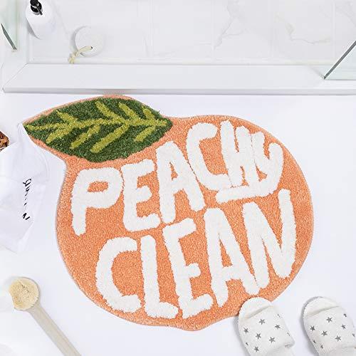 Bath Rugs Non-Slip Ins Girl Heart Cartoon Cute Pad Home Bathroom Door Absorbwater Carpet Anti-Slip Foot Mat 60 x 68cm Peach