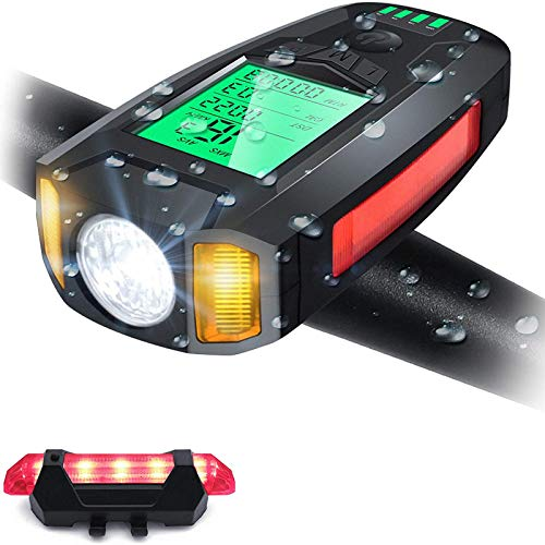 Bike Computer Speedometer Wireless USB Rechargeable IPX4 Waterproof with Headlight and Taillight for All Mountain and Road Trips