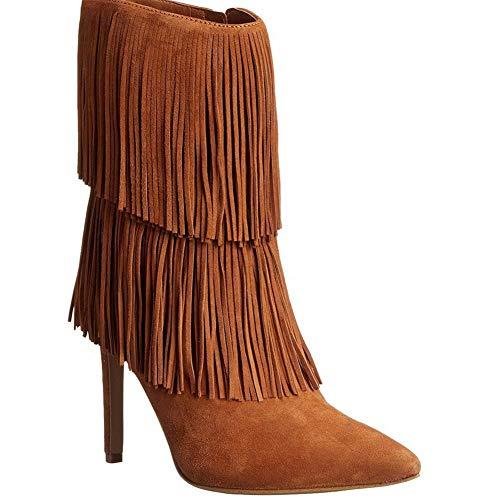 YMN Herfst en Winter hoge hak laarzen, puntige Stiletto enkellaarzen comfortabele dames 13cm hak, geschenken voor vriendinnen en moeder (bruin)